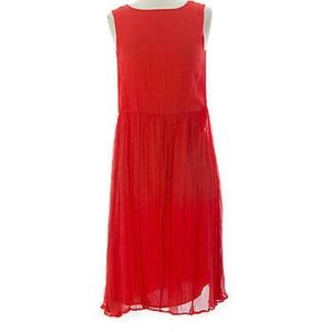 Topshop Red Sleeveless Midi Dress